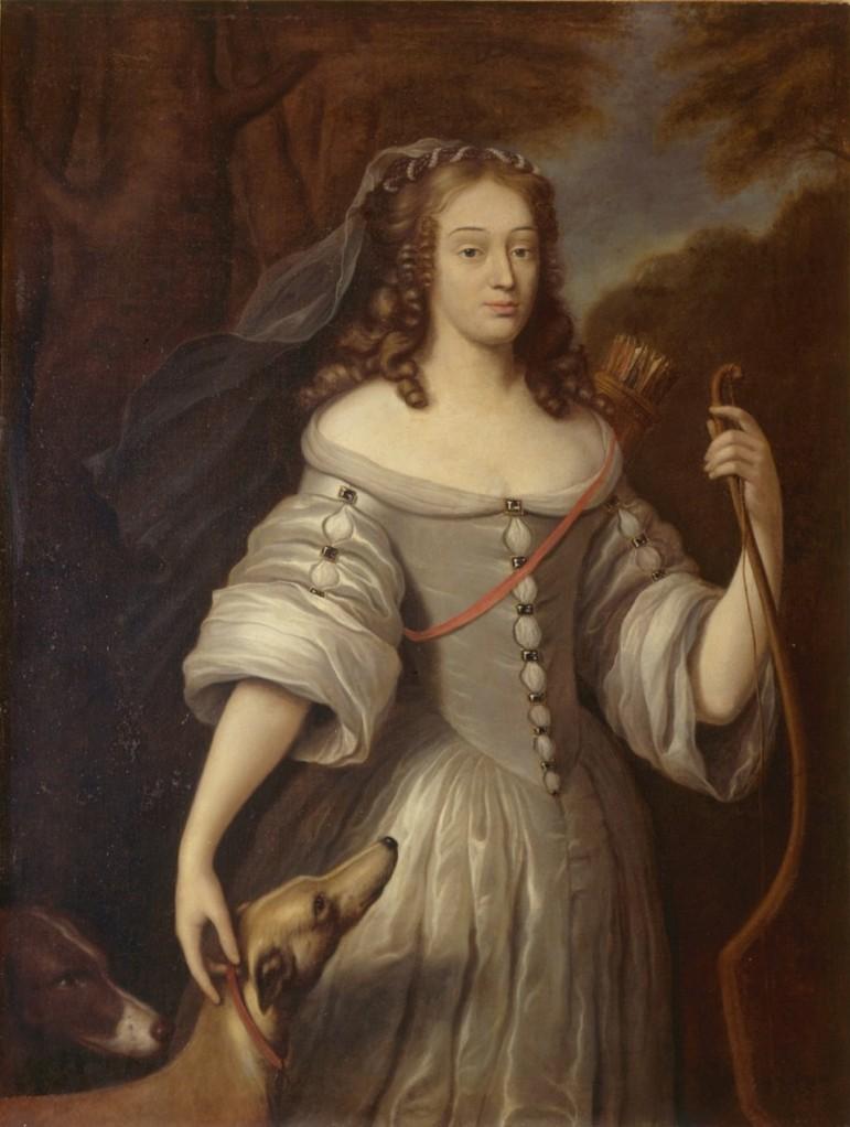 """Claude Lefèbvre, """"Ritratto di Louise de la Valliére in veste di Diana"""", 1667 (Reggia di Versailles)"""