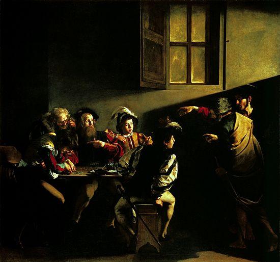 """Caravaggio, """"Vocazione di San Matteo"""", 1599-1600 (Roma, San Luigi dei Francesi)"""